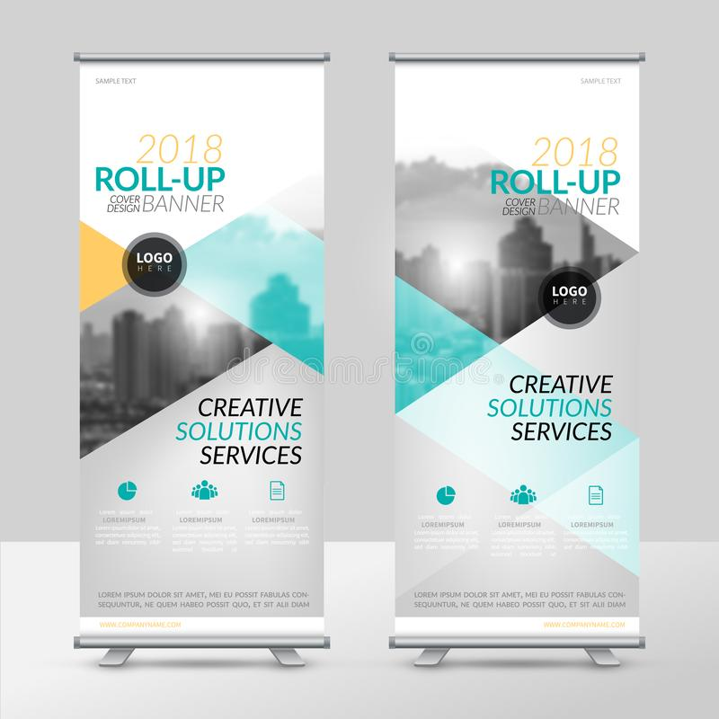 Business roll up design template, X-stand, Vertical flag-banner design layout, standee display promoting stock illustration