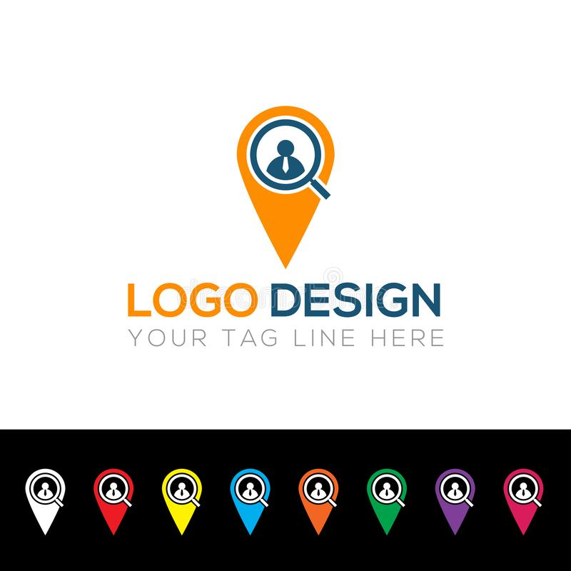 Search Employ Logo, Magnifying Glass Logo. Vector Illustration Graphic. Search Employ Logo, Magnifying Glass Logo. Vector Illustration Graphic Element stock illustration
