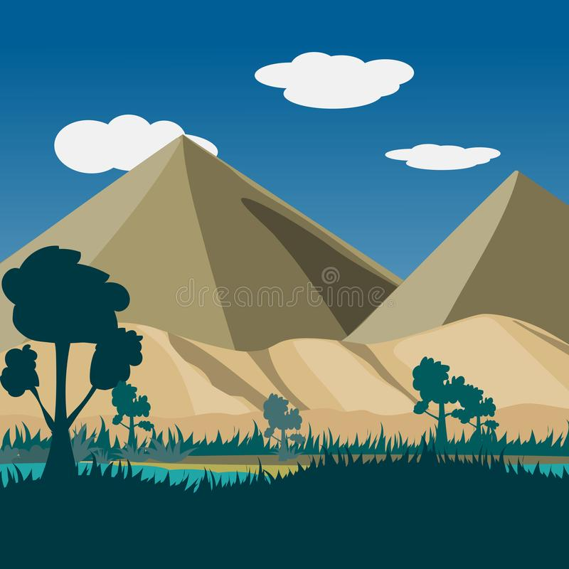 Landscape nature Oasis and desert mountain with blue sky and clouds background royalty free stock photography