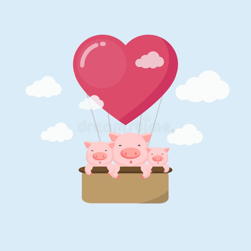 Happy holiday card. Funny pig on the air balloon in the sky. vector illustration