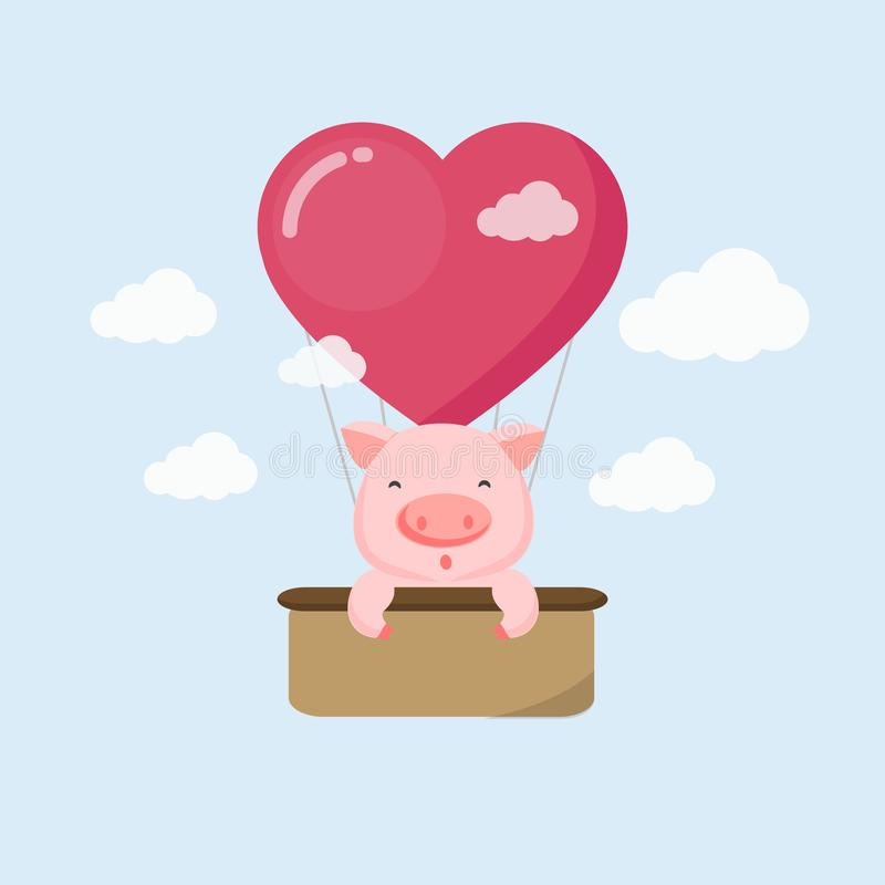 Happy holiday card. Funny pig on the air balloon in the sky. royalty free illustration