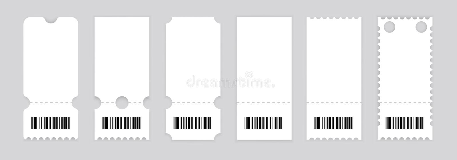 Realistic ticket design. Vector illustration.Symbol Coupon.Set of vintage grunge Collection Tickets. Template. royalty free illustration