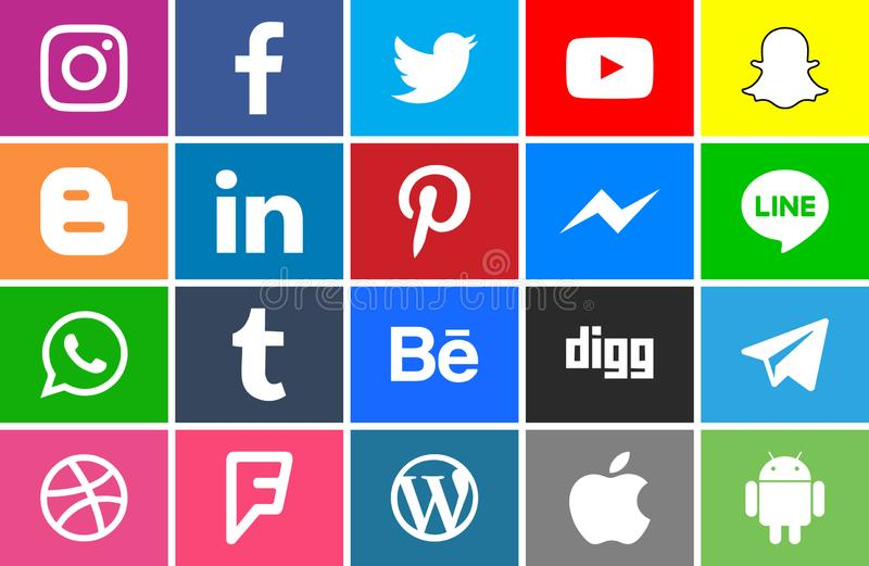 Collection of social network icons royalty free illustration