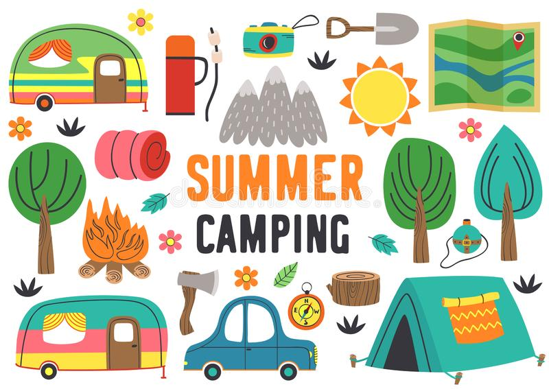 Set of isolated summer camping elements part 1 royalty free illustration