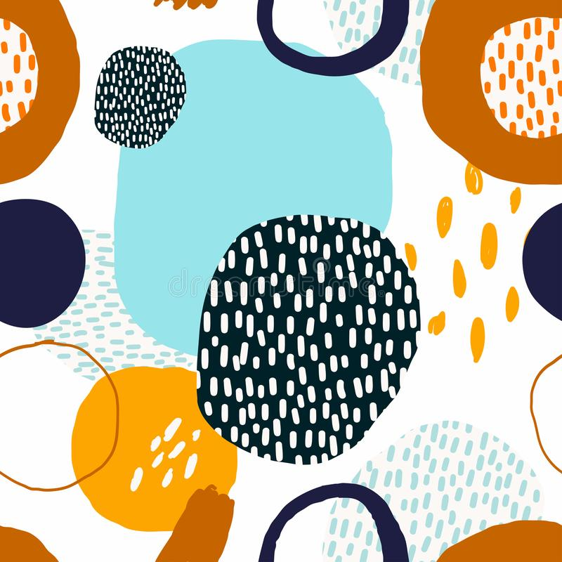 Abstract trendy seamless pattern with decorative, geometric shapes stock illustration