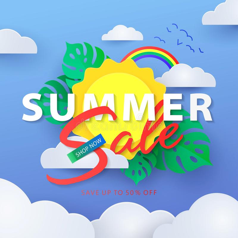 Summer Sale banner with sun in the clouds, rainbow in the blue sky and tropical leaves royalty free illustration