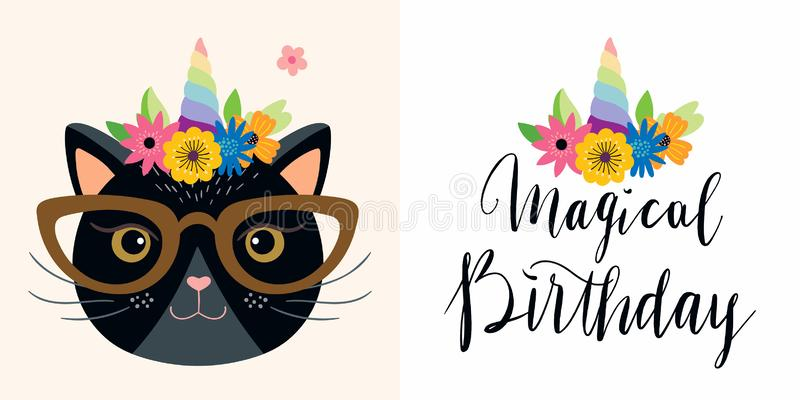 Birthday cards set with funny unicorn cat and hand lettering stock illustration