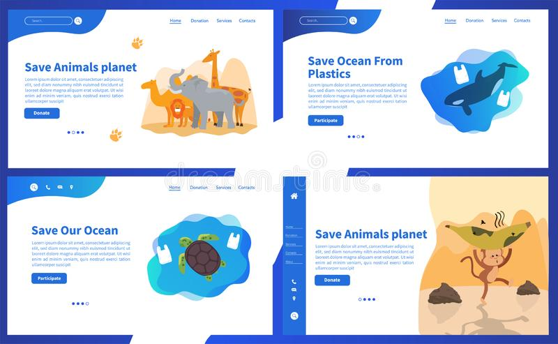 Web page design templates collection of Save Planet or Go green themes. Modern vector illustration concepts for website and mobile website development. Save royalty free illustration