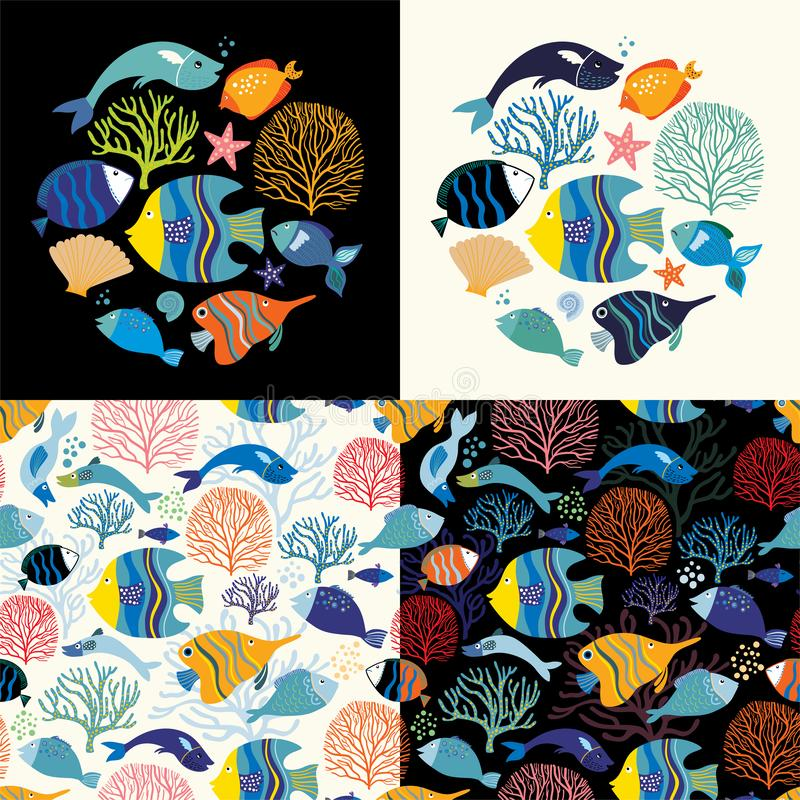 Aquatic collection with seamless patterns and round compositions. Aquatic collection with two seamless patterns and two round compositions with different fish stock illustration
