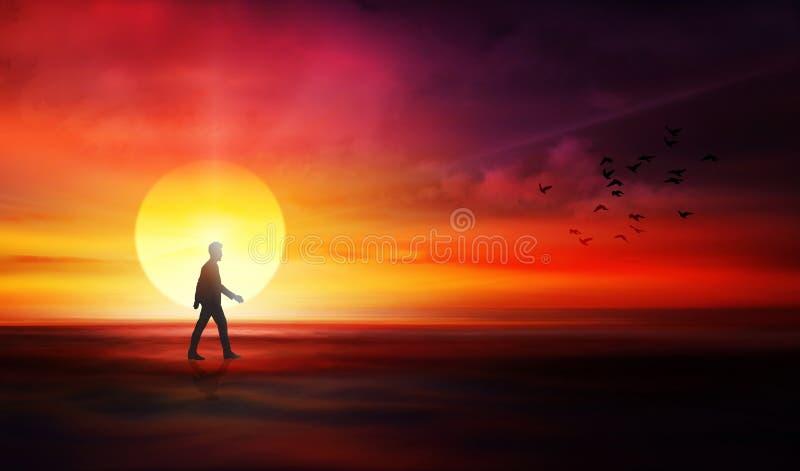 Life journey, path to unknown, destiny,  rebirth vector illustration