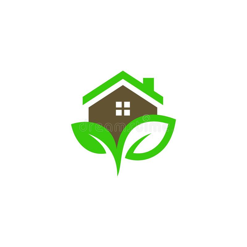 Home with leaf icon logo vector illustration