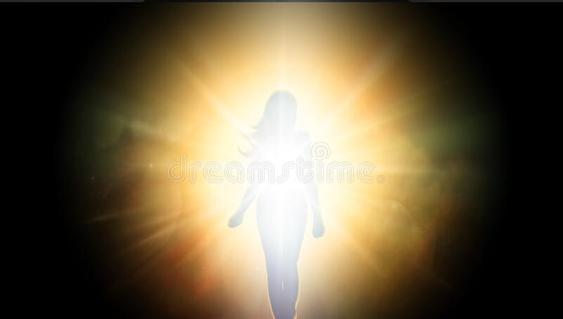 Soul journey, portal to another universe, light being, unity wallpaper. Portal to another universe, abstract spiritual background with white and yellow bright royalty free stock image
