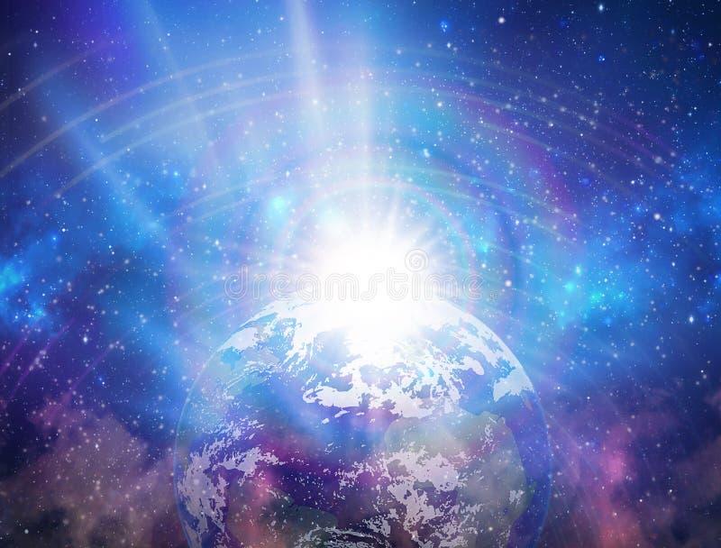 Spiritual love healing earth rainbow energy, power, portal, evolution, transformation, fractals stock photography