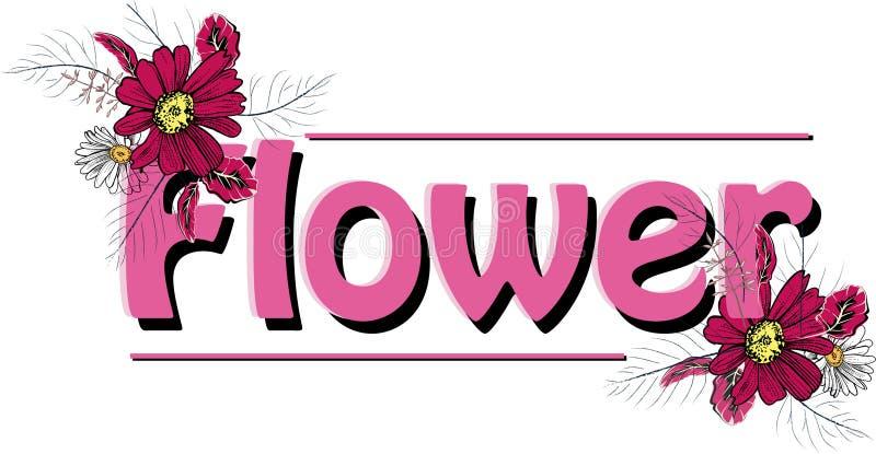 Beautiful flower caption design pink flower. Beautiful flower caption design pink color with branches flower white vector illustration