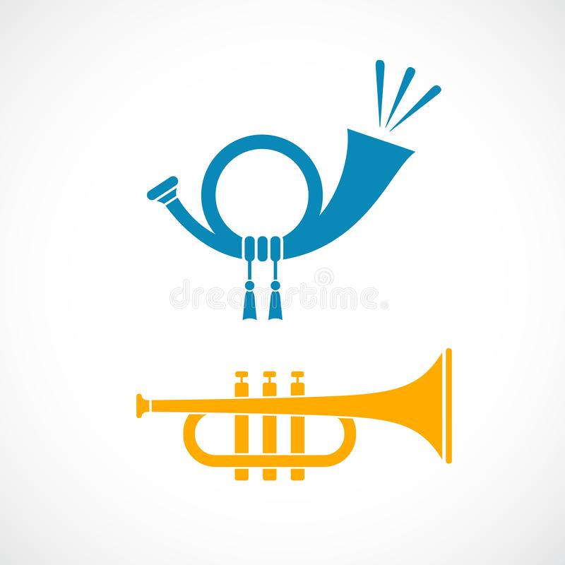 Horn and trumpet vector icon royalty free illustration