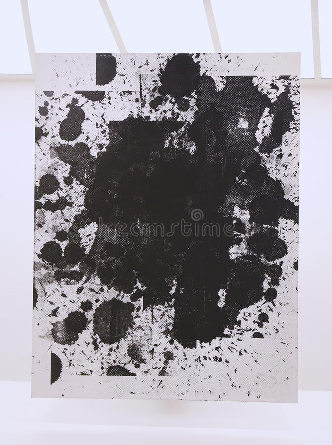 Untitled painting by Christopher Wool on display in Solomon R Guggenheim Museum of modern and contemporary art in New York stock image