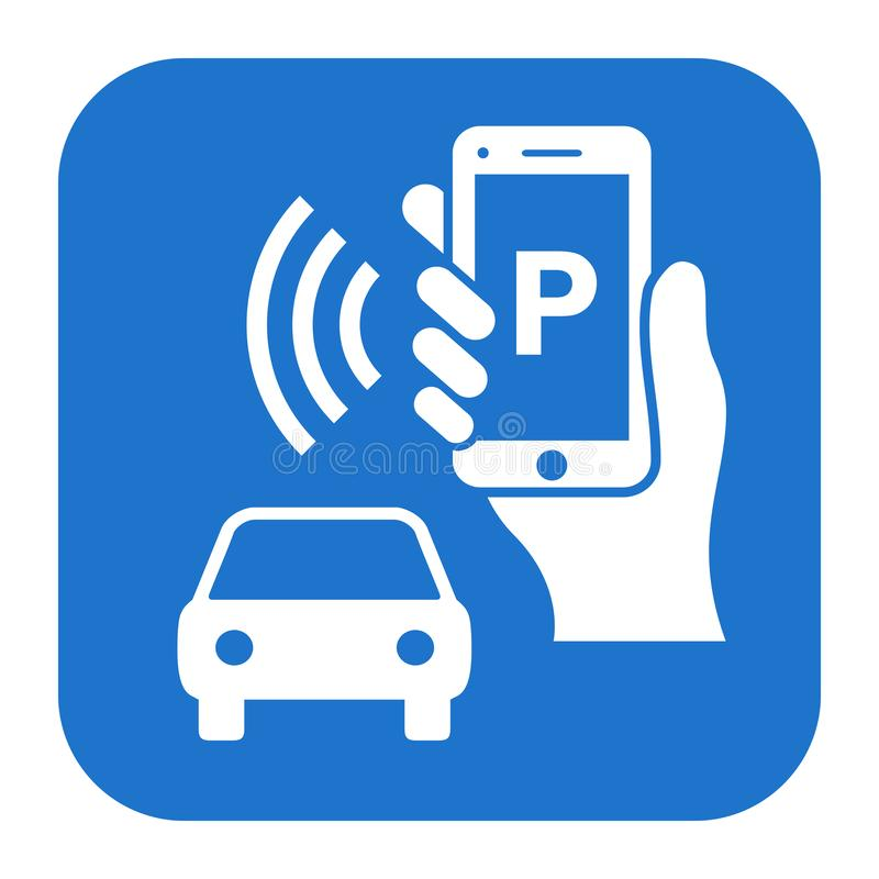 Park your car by phone vector sign royalty free illustration