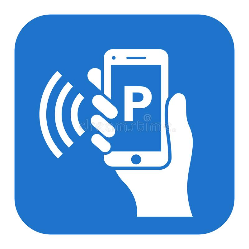 Mobile parking app vector icon royalty free illustration