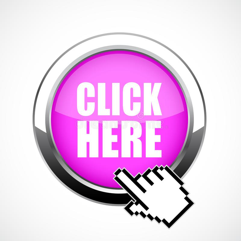 Metal button click here vector illustration