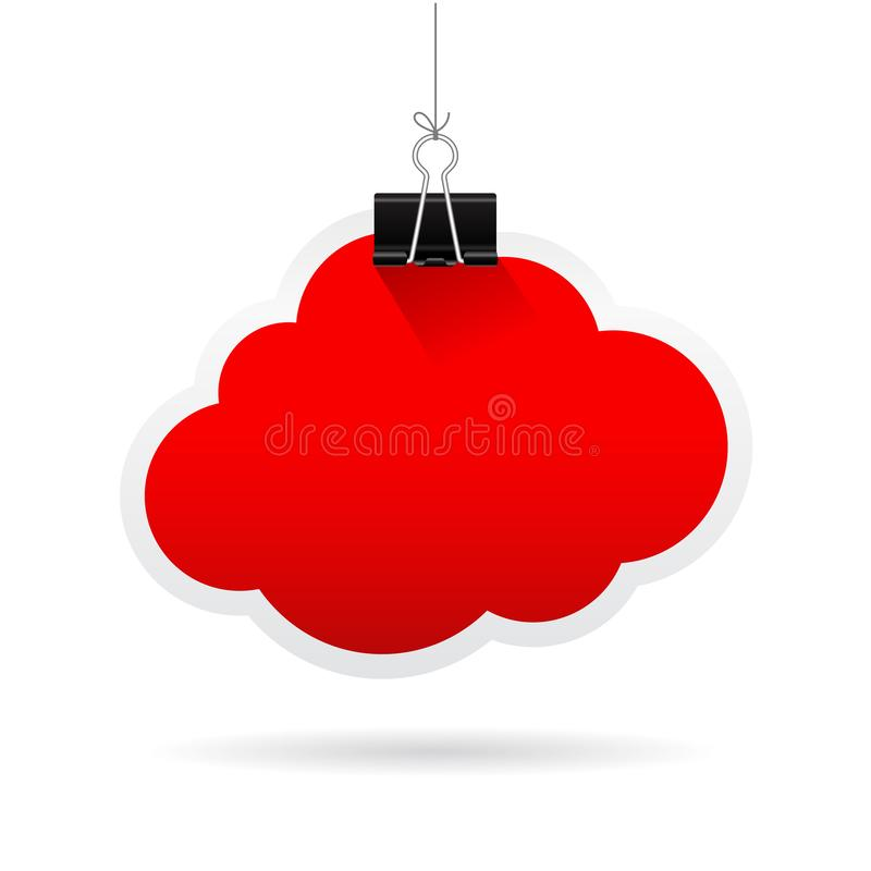 Red note paper cloud icon royalty free illustration