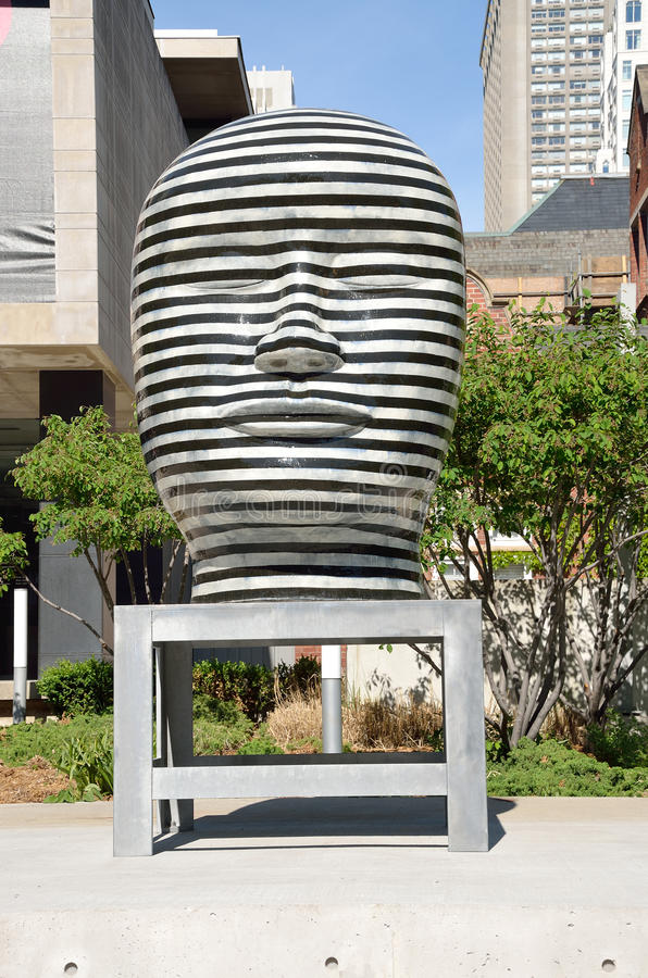 Untitled sculpture by Jun Kaneko, Toronto, Canada. The Untitled sculpture by Jun Kaneko at the entrance of Gardiner Museum of Ceramic Art in Toronto, Canada stock photography