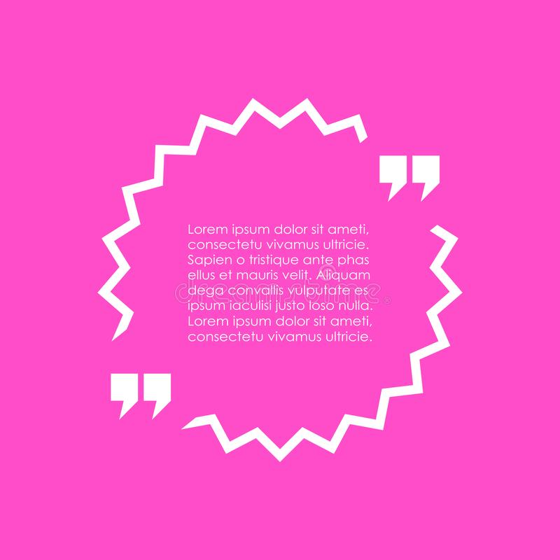 Text quote box. Over pink background stock illustration