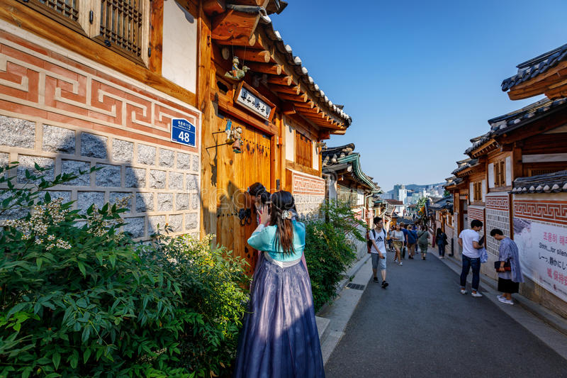 Untitled tourists at Bukchon Hanok Village on Jun19, 2017 in Seoul city, South Korea. Famous tour destination royalty free stock photo