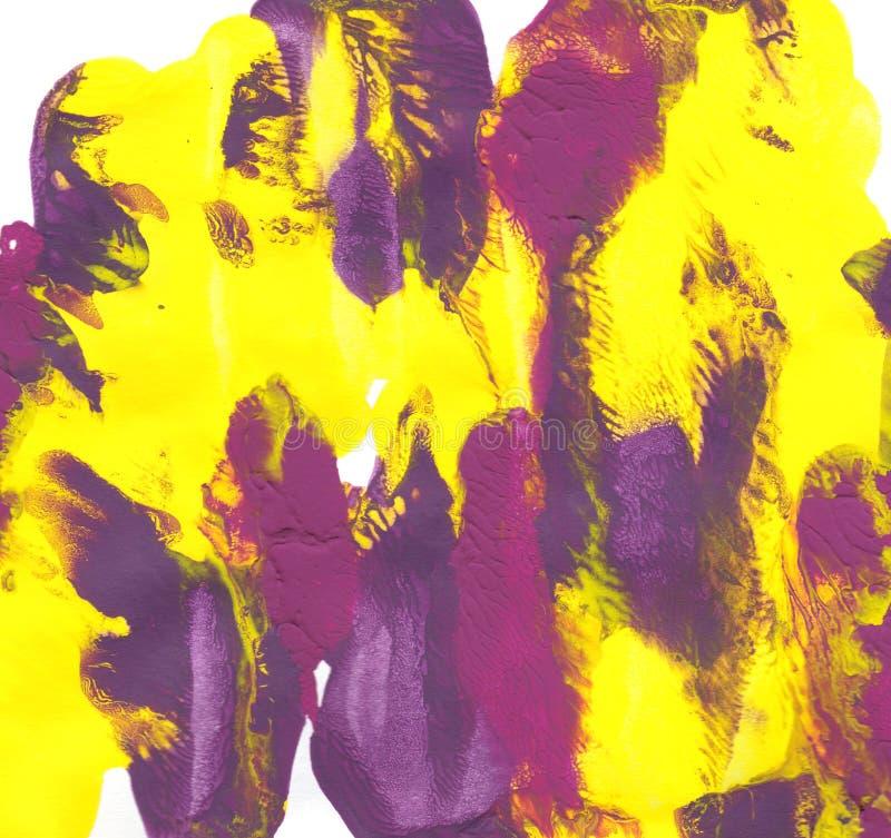 Untos del extracto de la pintura amarilla, púrpura y magenta ilustración del vector