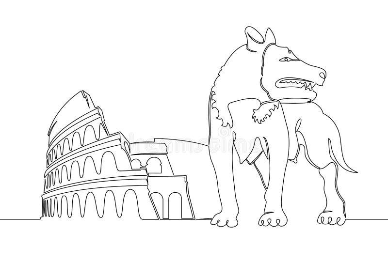 Ununterbrochen sondern Sie Tierwolfsymbol der gezogenen einzelnen Zeile der Stadt von Rom Colosseum aus lizenzfreie abbildung
