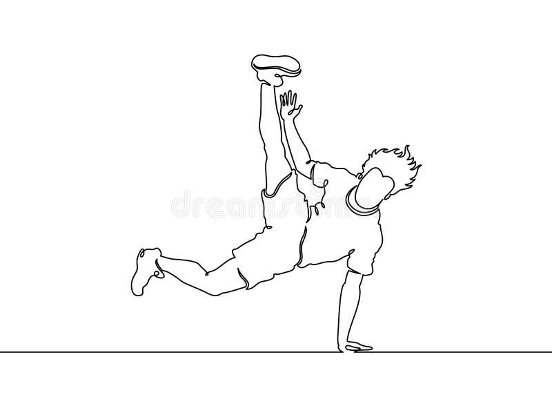 Ununterbrochene gemalte Bewegung breakdance Tänzer der einzelnen Zeile lizenzfreie abbildung