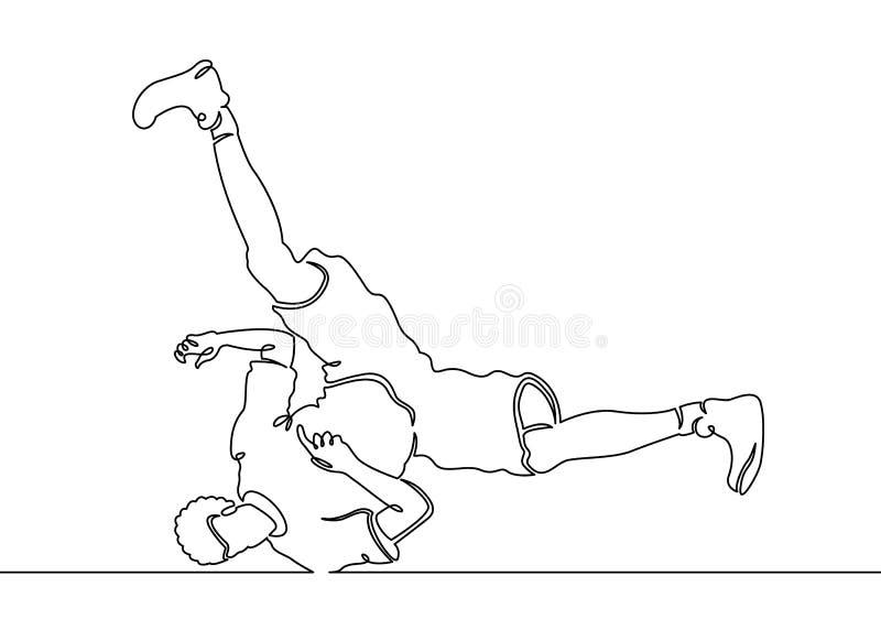 Ununterbrochene gemalte Bewegung breakdance Tänzer der einzelnen Zeile vektor abbildung