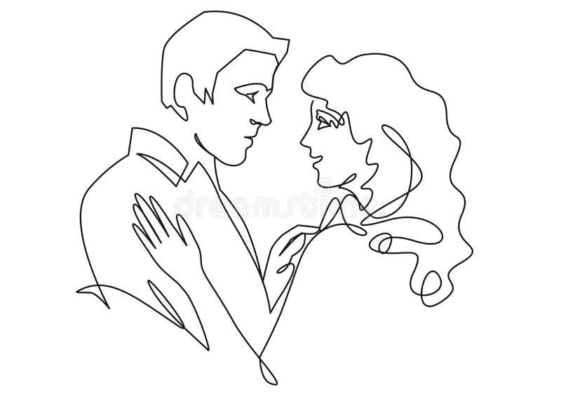 Ununterbrochene gezogene einzelne Zeile der romantischen Umarmung von zwei Liebhabern, Jungvermählten, junge Leute stock abbildung