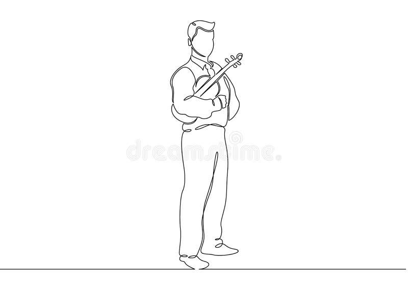 Ununterbrochene gezogene einzelne Zeile eines Musikers wird von einem Violinistmann gespielt vektor abbildung