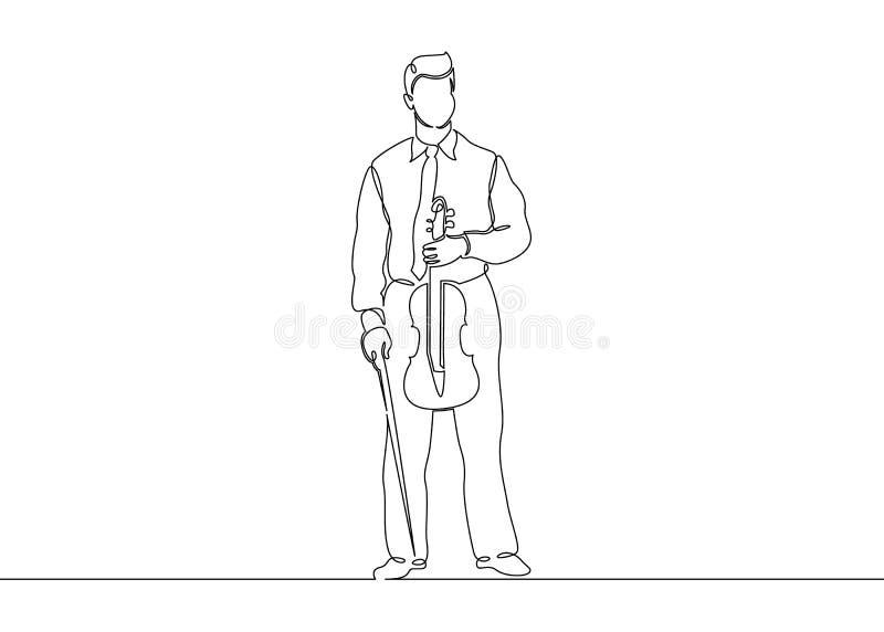 Ununterbrochene gezogene einzelne Zeile eines Musikers wird von einem Violinistmann gespielt lizenzfreie abbildung