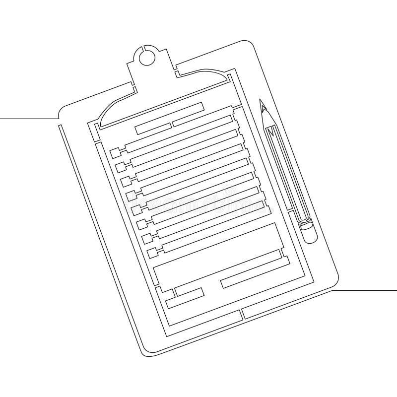 Ununterbrochene Linie eine zeichnendes Klemmbrett mit Bleistift lizenzfreie abbildung