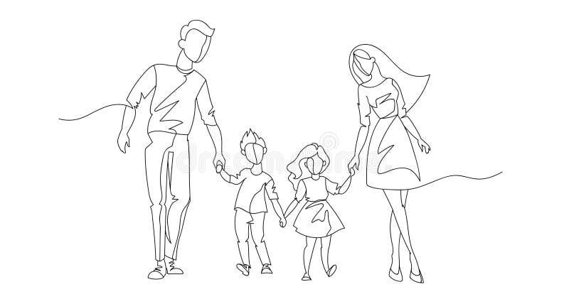 Ununterbrochene Linie Eltern, die mit Kindern gehen Eine Linie glückliche Familie Konturn-Leute im Freien Parenting-Charaktere lizenzfreie abbildung