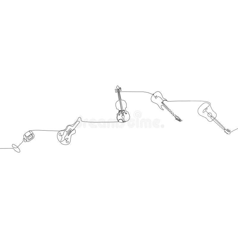 ununterbrochene Linie Entwurf des kleinen Stoß-Musikinstrument-Konzeptes Federzeichnung der einzelnen Zeile der mic-Mandolinenkla lizenzfreie abbildung