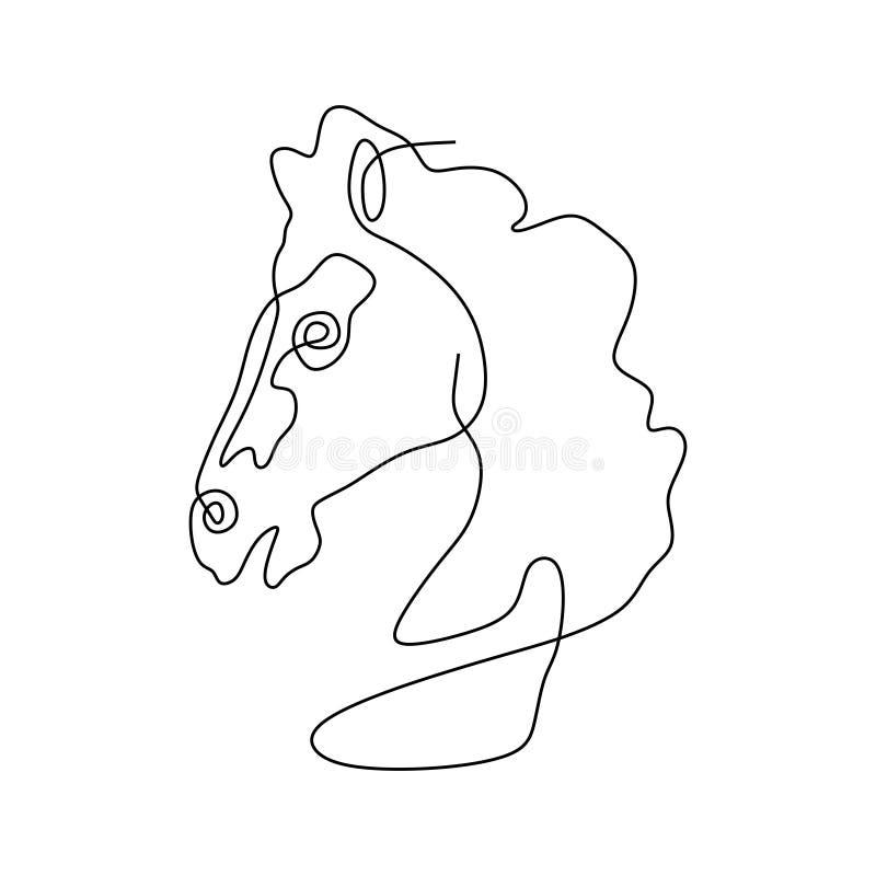 Ununterbrochene Linie Entwurfsvektorillustrations-Minimalismusart des Pferdekopfs unbedeutende vektor abbildung