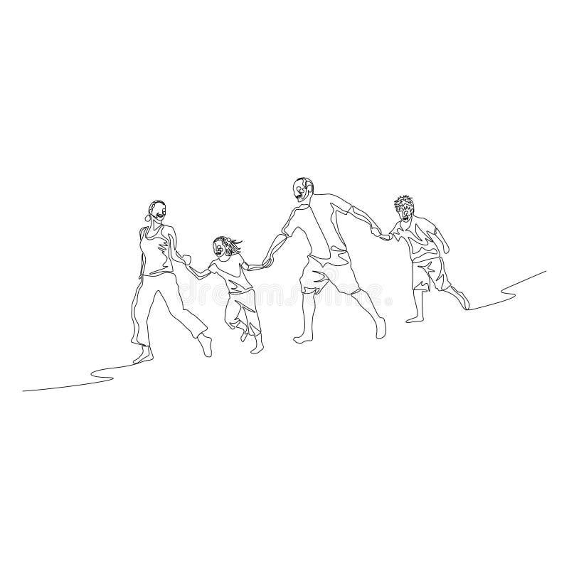 Ununterbrochene Linie Familie, die die Hände halten und in Folge laufen geht stock abbildung