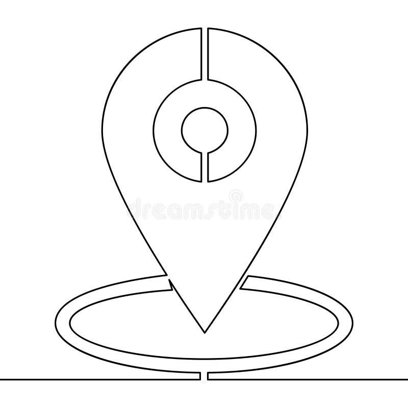 Ununterbrochene Linie gezeichneter Vektor einzelner Zeile GPSs Kennzeichen vektor abbildung