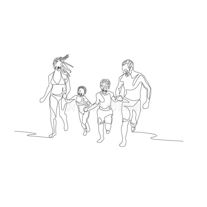 Ununterbrochene Linie glückliche Familie, die entlang den Strand hält die Hände läuft vektor abbildung