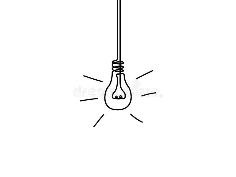 Ununterbrochene Linie Glühlampe, Ideenkonzept Auch im corel abgehobenen Betrag vektor abbildung