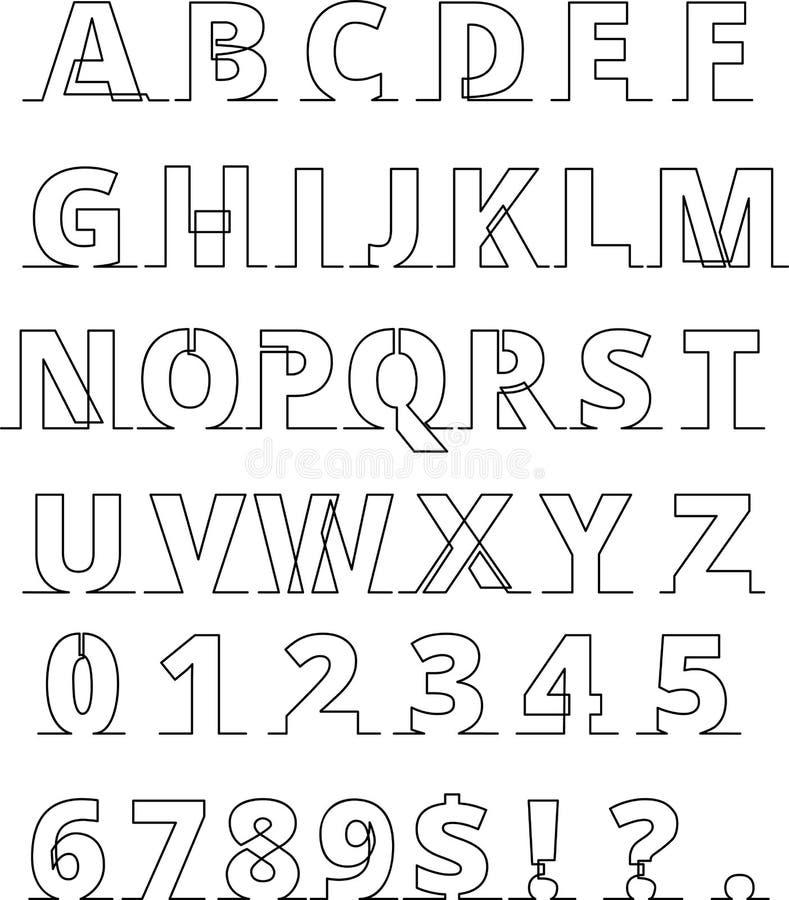Ununterbrochene Linie Guss - Buchstaben und Zahlen verdünnen Linie vektor abbildung