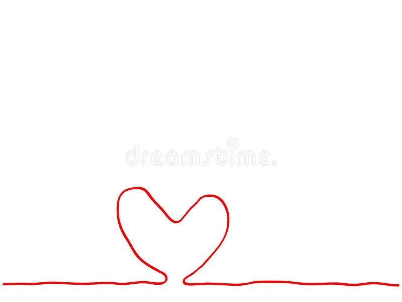 Ununterbrochene Linie Herz-Zeichenelement der Handzeichnung rotes mit für Karte lizenzfreie stockfotografie