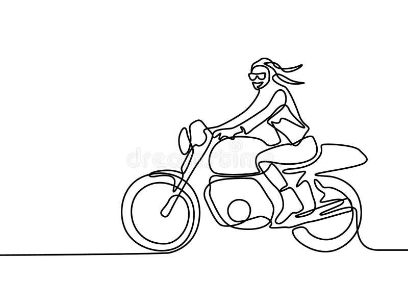 Ununterbrochene Linie lächelndes Frauenreiten auf Motorrad Auch im corel abgehobenen Betrag vektor abbildung