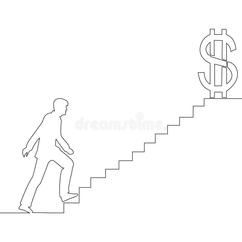 Ununterbrochene Linie Mann auf Treppe des Erfolgs lizenzfreie abbildung