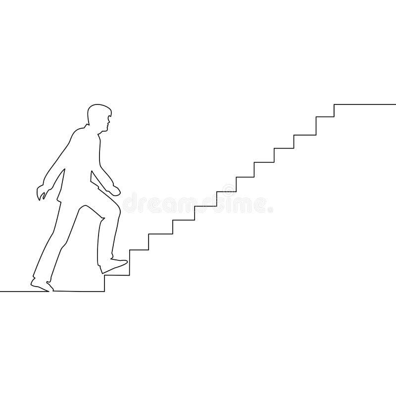 Ununterbrochene Linie Mann klettert den Treppe Ehrgeiz stock abbildung
