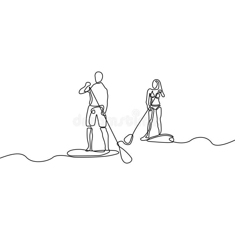 Ununterbrochene Linie Mann und Frau, die Paddeleinstieg tun stock abbildung