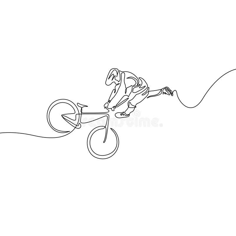 Ununterbrochene Linie Radfahrer in einem Sturzhelm führt einen Trick auf Fahrrad durch lizenzfreie abbildung