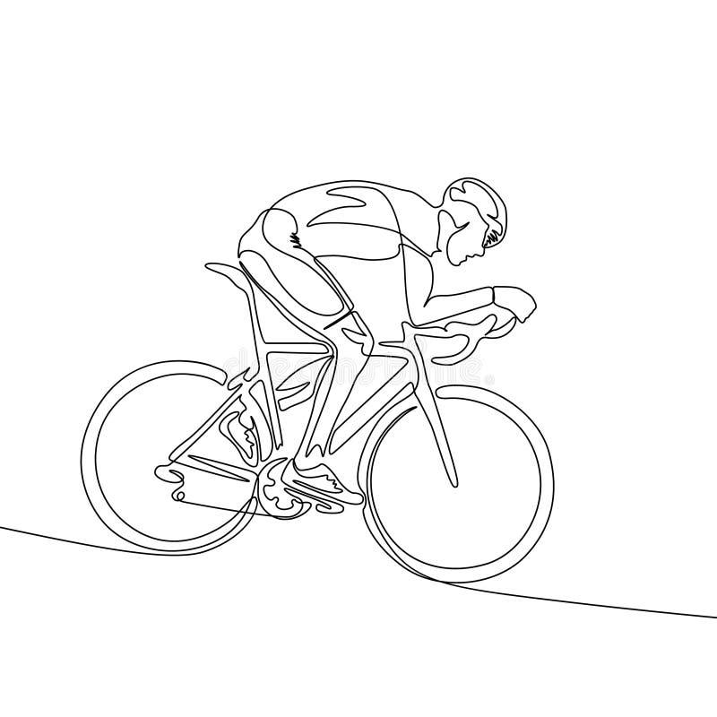 Ununterbrochene Linie Radfahrer im Sturzhelm, der Fahrrad hinunter die Steigung fährt lizenzfreie abbildung